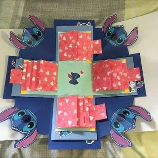 #現貨卡片 史迪奇 禮物盒 手工卡片 情人節禮物 生日卡片