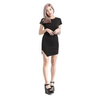 Wardrobemess Pointed Hem Black Dress