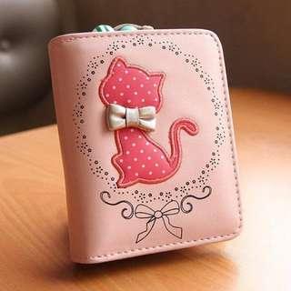 韓版 優雅貓咪 錢包 零錢包 皮夾 短夾 情人節禮物