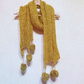 全新💎超可愛毛球黃色針織圍巾