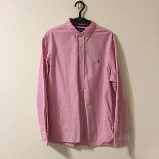 二手✌🏻️男款polo ralph lauren粉色長袖襯衫