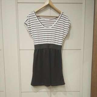 法式黑白條紋洋裝