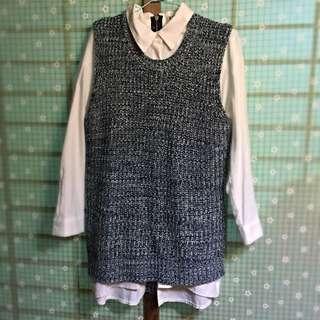 針織長版前短後長設計背心式上衣-灰黑系