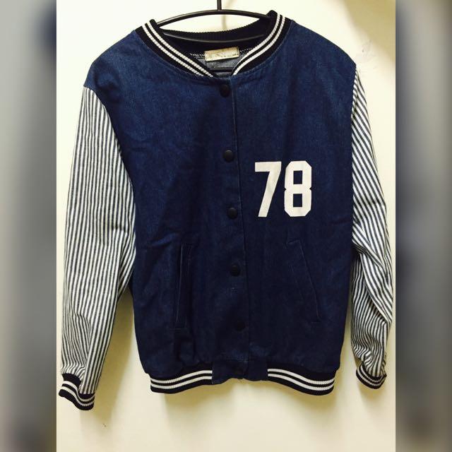 個性拼接直紋牛仔棒球外套