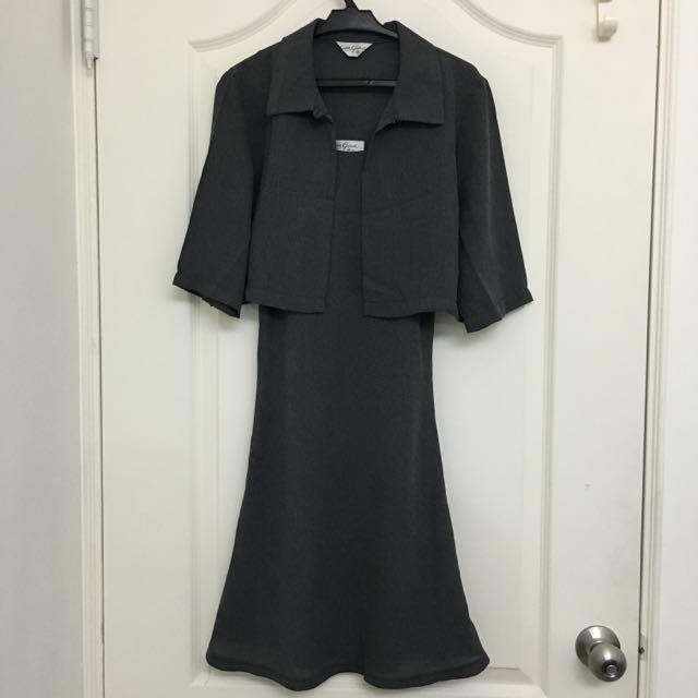 灰色修身套裝連身裙 #轉轉來交換 #可換物
