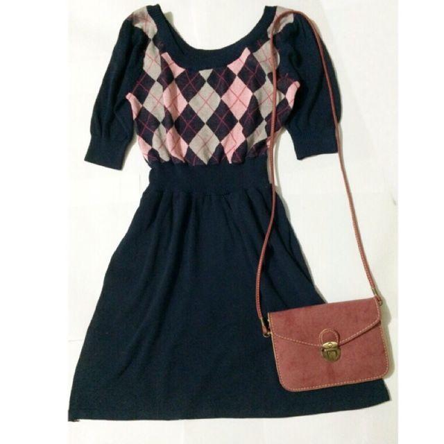 針織格紋洋裝