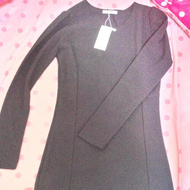 全新含運))黑色腰身洋裝