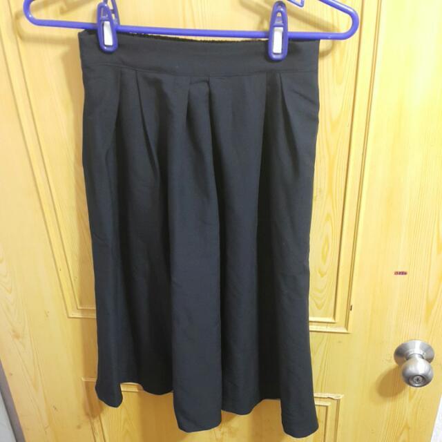黑色打摺圓裙