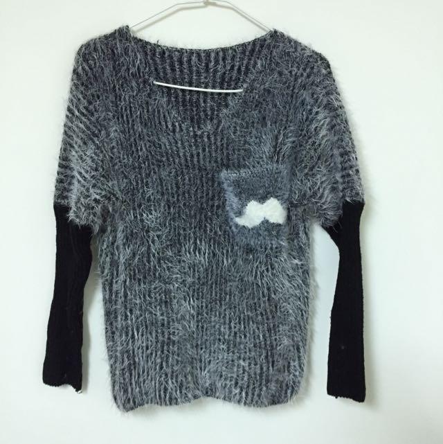 黑毛衣(白色俏鬍子小口袋)二手衣