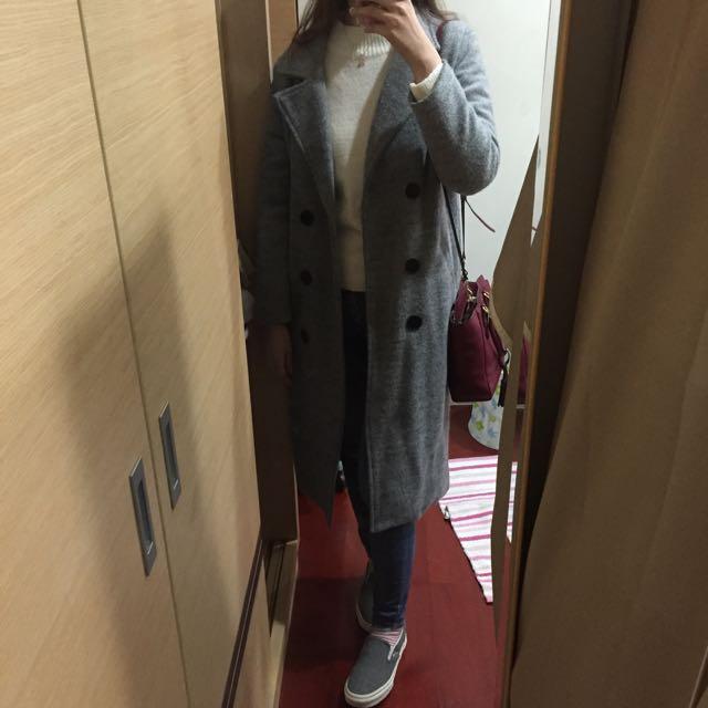 [全新]灰色長版鋪棉外套