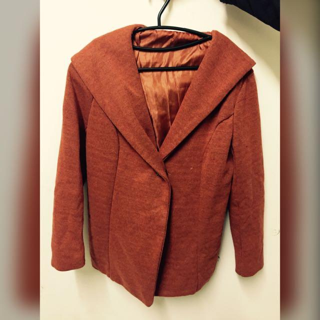 古著保暖細針織連帽縮腰橘外套 大衣