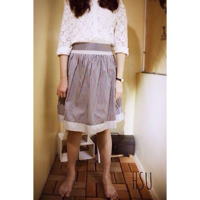 專櫃直條高腰復古圓裙 質感灰