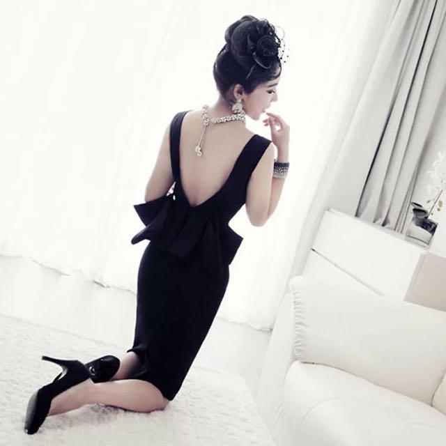 赫本風大露背黑色禮服 包臀 一步裙