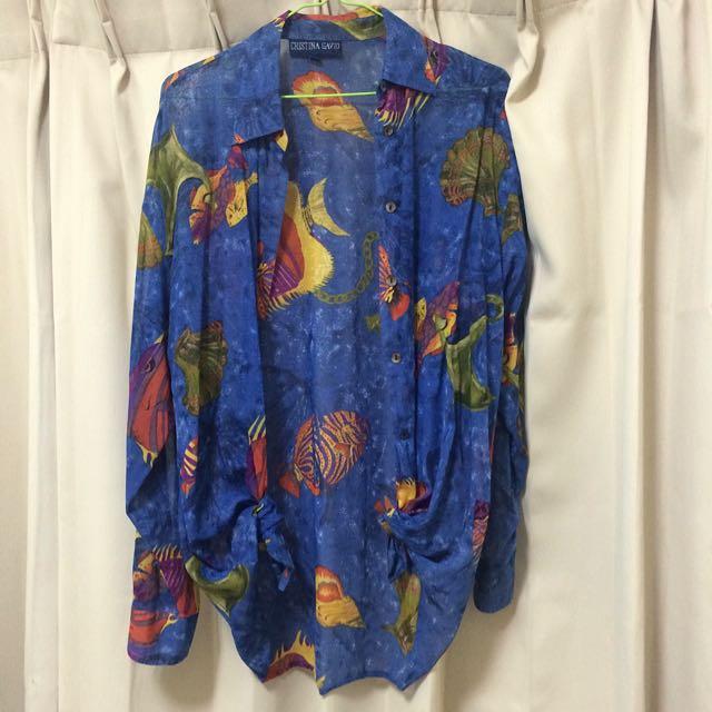 古著 深藍色 雪紡 襯衫 熱帶魚🐠