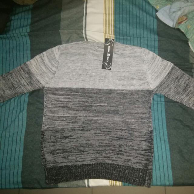 男士 黑白 毛衣 衣領 針織襯衫