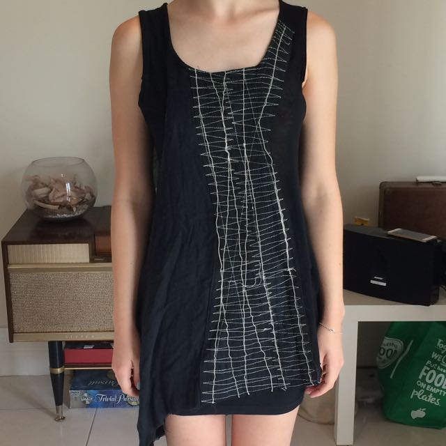 Arty Embroided Black Long Top/short Dress