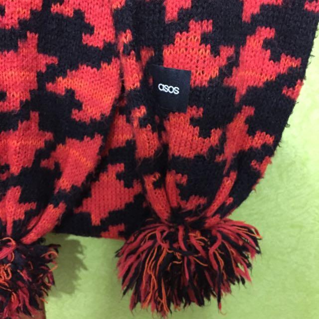 英國Asos 紅色格紋圍巾