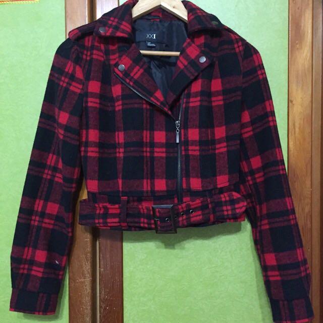 Forever 21 紅色格紋騎士外套