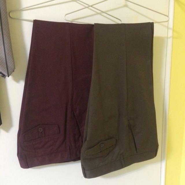 G2000 西裝褲 (咖啡色/紫紅色)