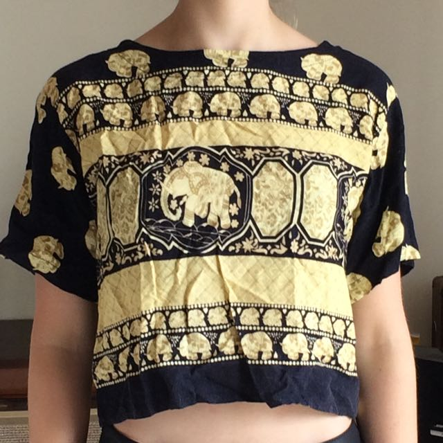 Indian Patterned Elephant Tee Shirt Cropped Size S