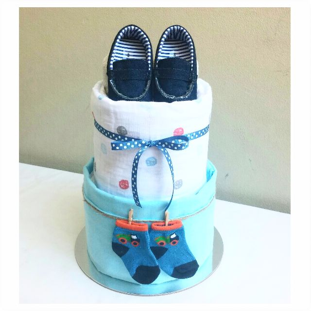 "2-Tier ""Mummy's Little Boy"" Nappy Cake Design"