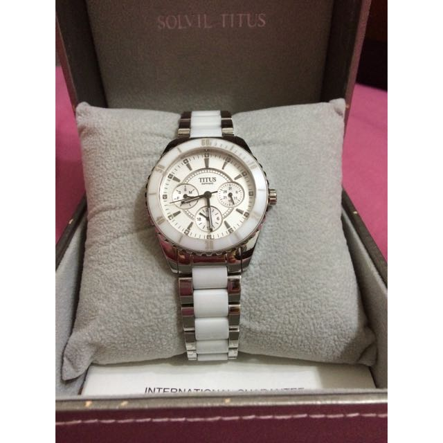 ee307af42 [Price Reduced]Solvil Titus Ceramic Watch in a Silver White, Women's  Fashion on Carousell