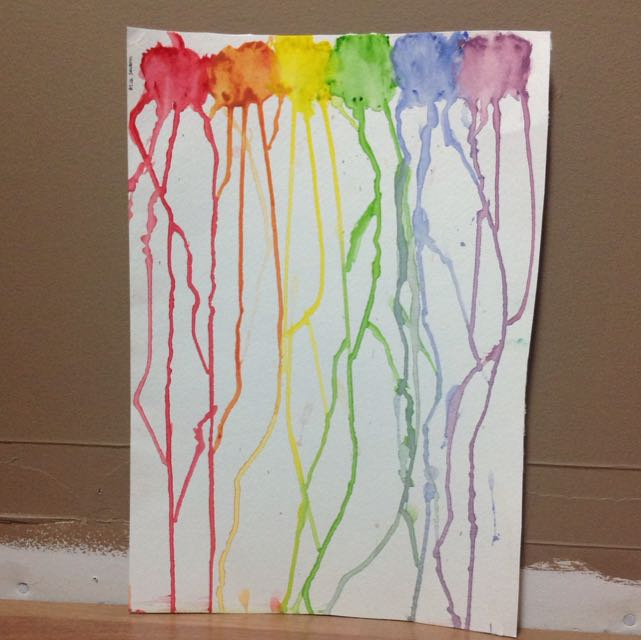 Rainbow Drip Water Colour Painting