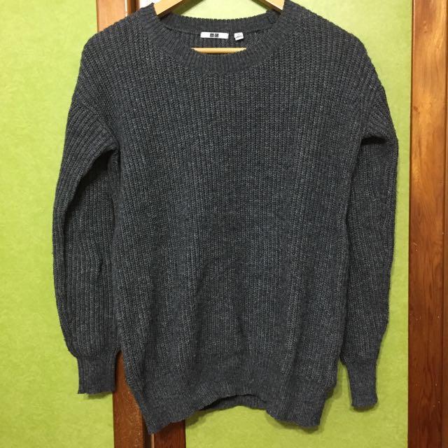 Uniqlo基本款灰色長版針織衫