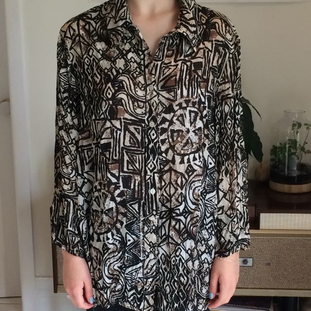 Vintage Oversized Button Up Patterned Size M