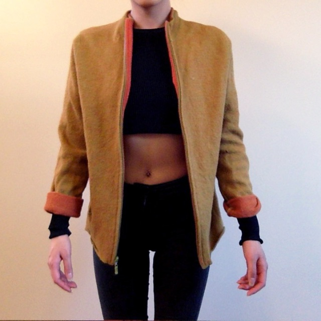 Wool Khaki Gold/Orange zip up cardigan