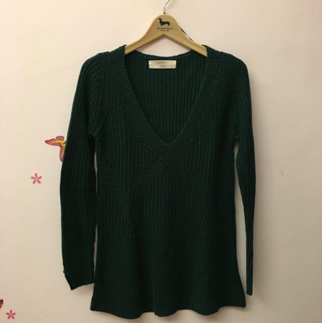 Zara軍綠針織上衣