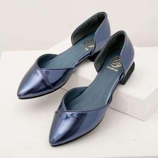 ANNSTAR斜型剪裁尖頭平底鞋-寶石藍 starmimi ann's 37,36