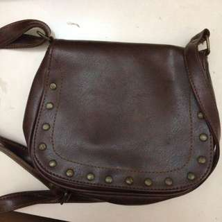 Brown Sling Bag (Faux Leather)