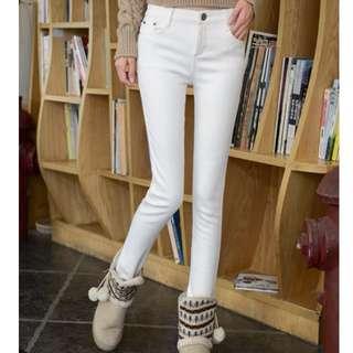 最後一件顯瘦加絨加厚鉛筆褲牛仔褲26碼白色