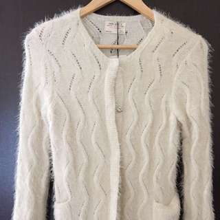 Zara白色毛針織外套