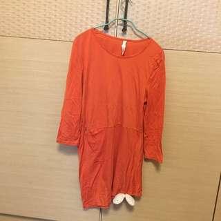 A La Sha 阿財橘黃色洋裝長上衣