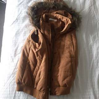 Faux Fur Jacket Size 10, Suede In Brown, Never Worn