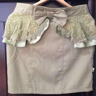 2016vday 腰間蝴蝶結蕾絲短裙/窄裙