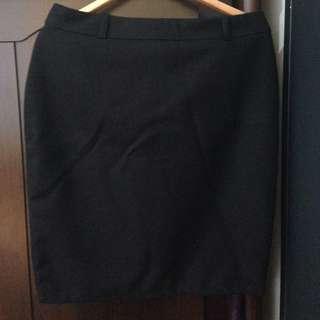 黑色毛料西裝裙/鉛筆裙/半身裙
