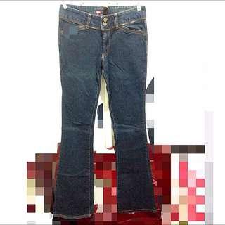 衣櫃出清-全新-深藍拉鍊喇叭牛仔褲