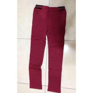 紅色內刷毛 窄管褲