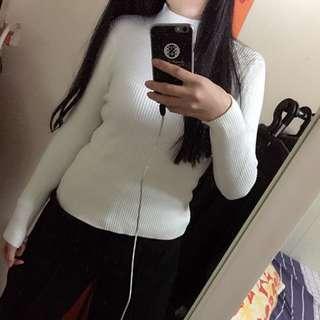 極暖 厚毛衣 白色