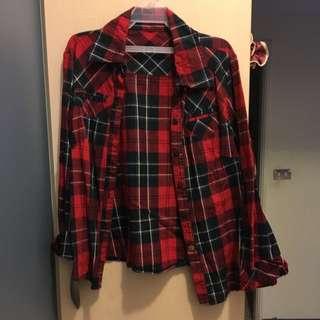 格子 紅藍 襯衫