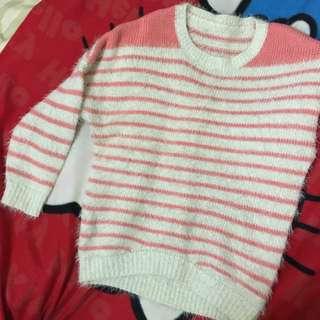 粉色條紋海馬毛長袖毛衣