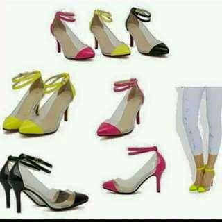 neon pumps heels