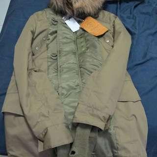 SLY軍綠色長版外套