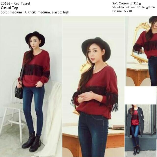 20686 Red Tassel Shirt