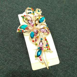 Colourful Crystal Flower Hairpin