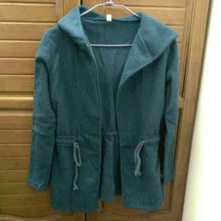 藍綠色開襟外套