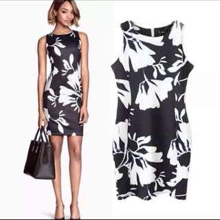 Black And White Flora Dress